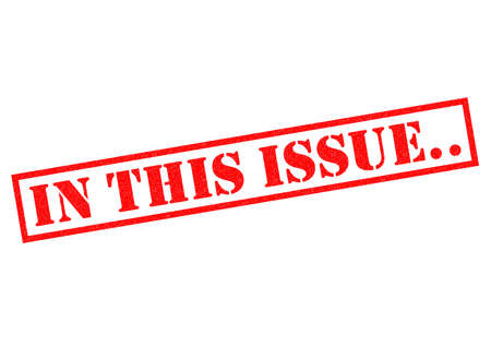 issue: IN THIS ISSUE.. red Rubber Stamp over a white background.