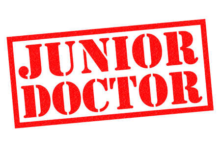 nhs: JUNIOR DOCTOR red Rubber Stamp over a white background.