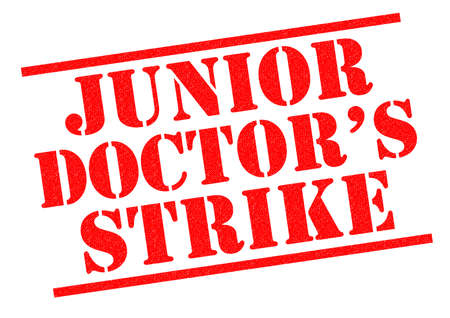 nhs: JUNIOR DOCTOR�S STRIKE red Rubber Stamp over a white background.