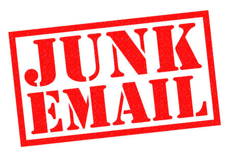 unsolicited: JUNK EMAIL red Rubber Stamp over a white background.