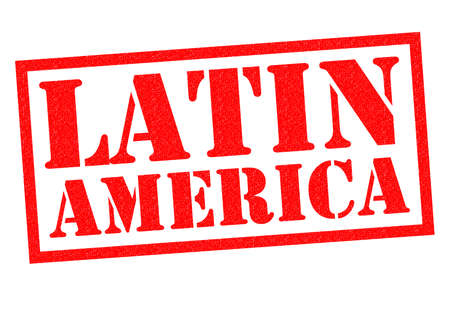 LATIN AMERICA red Rubber Stamp over a white background.
