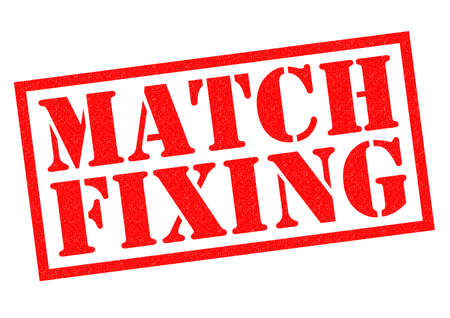 unethical: MATCH FIXING red Rubber Stamp over a white background.