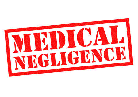 insurance claim: MEDICAL NEGLIGENCE red Rubber Stamp over a white background.