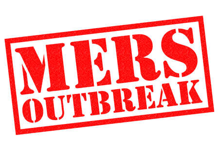 respiratory infection: MERS OUTBREAK red Rubber Stamp over a white background.