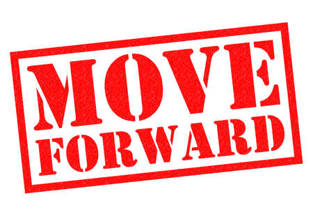 MOVE FORWARD red Rubber Stamp over a white background.