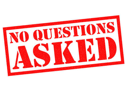 asked: NO QUESTIONS ASKED red Rubber Stamp over a white background. Stock Photo