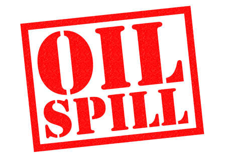spillage: OIL SPILL red Rubber Stamp over a white background. Stock Photo