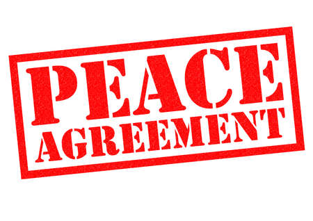 truce: PEACE AGREEMENT red Rubber Stamp over a white background.
