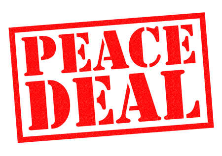 armistice: PEACE DEAL red Rubber Stamp over a white background. Stock Photo