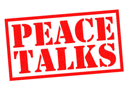 ceasefire: PEACE TALKS red Rubber Stamp over a white background.
