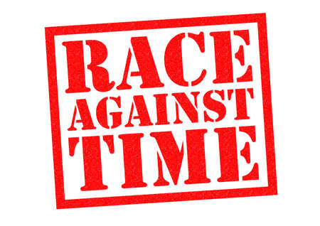 rushing: RACE AGAINST TIME red Rubber Stamp over a white background.