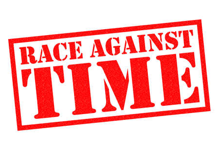 against: RACE AGAINST TIME red Rubber Stamp over a white background.