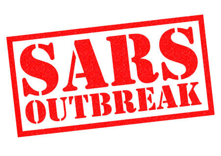 sars: SARS OUTBREAK red Rubber Stamp over a white background.