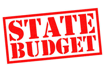budgetary: STATE BUDGET red Rubber Stamp over a white background.