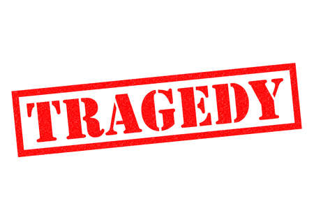 tragedy: TRAGEDY red Rubber Stamp over a white background.