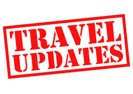 times up: TRAVEL UPDATES red Rubber Stamp over a white background.
