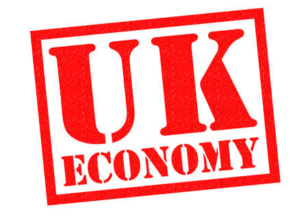 credit crunch: UK ECONOMY red Rubber Stamp over a white background.
