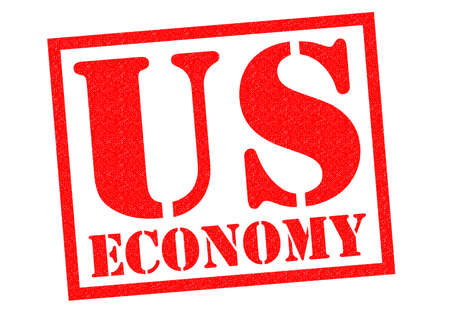 credit crunch: US ECONOMY red Rubber Stamp over a white background. Stock Photo
