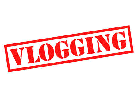 web presence internet presence: VLOGGING red Rubber Stamp over a white background.