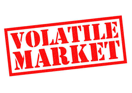unreliable: VOLATILE MARKET red Rubber Stamp over a white background. Stock Photo