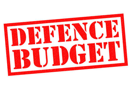 budgetary: DEFENCE BUDGET red Rubber Stamp over a white background.