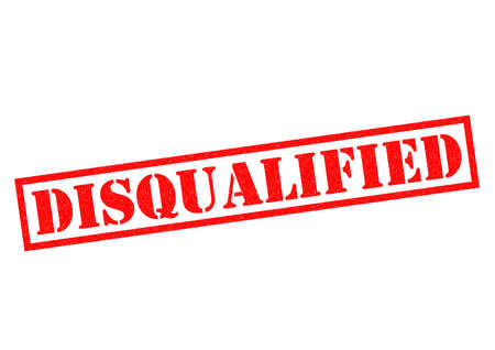 banning the symbol: DISQUALIFIED red Rubber Stamp over a white background.