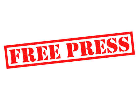 objectivity: FREE PRESS red Rubber Stamp over a white background.