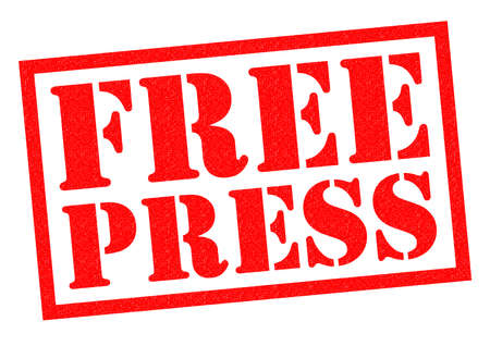 news values: FREE PRESS red Rubber Stamp over a white background.