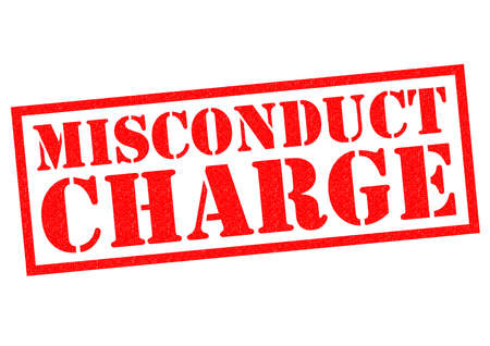 misconduct: MISCONDUCT CHARGE red Rubber Stamp over a white background.