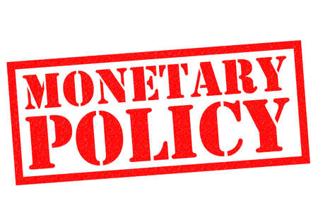monetary: MONETARY POLICY red Rubber Stamp over a white background. Stock Photo