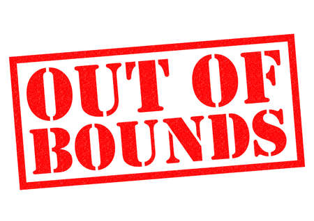 warned: OUT OF BOUNDS red Rubber Stamp over a white background.