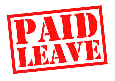 leave: PAID LEAVE red Rubber Stamp over a white background.