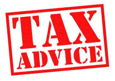 dues: TAX ADVICE red Rubber Stamp over a white background. Stock Photo