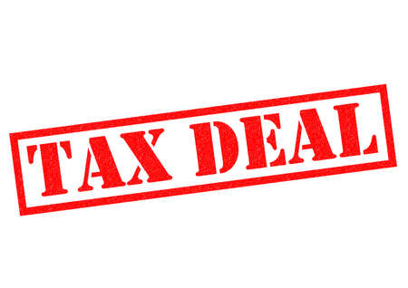 dealings: TAX DEAL red Rubber Stamp over a white background.