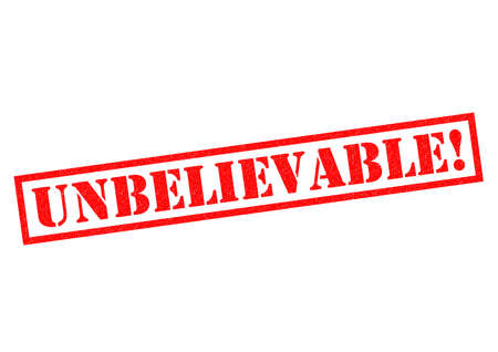 improbable: UNBELIEVABLE! red Rubber Stamp over a white background.