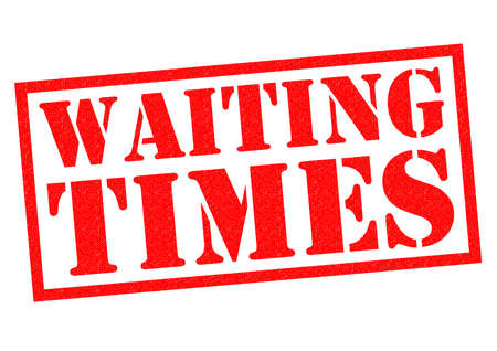 WAITING TIMES red Rubber Stamp over a white background. Stock Photo