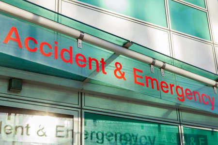 emergency care: The sign for an Accident and Emergency Department.