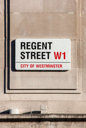 regent: LONDON, UK - JANUARY 19TH 2016: A street sign for Regent Street in central London, on 19th January 2016.