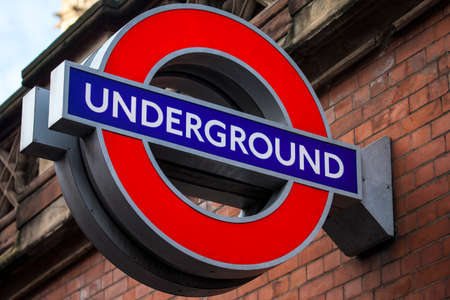 famous industries: LONDON, UK - JANUARY 19TH 2016: A sign for an Underground train station in London, on 19th January 2016. Editorial