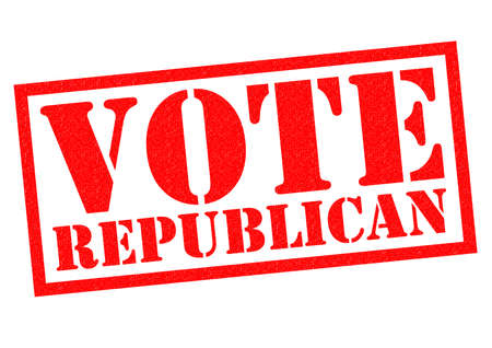 VOTE REPUBLICAN red Rubber Stamp over a white background.