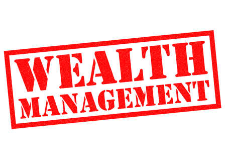 credit crunch: WEALTH MANAGEMENT red Rubber Stamp over a white background. Stock Photo