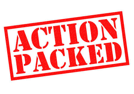over packed: ACTION PACKED red Rubber Stamp over a white background.