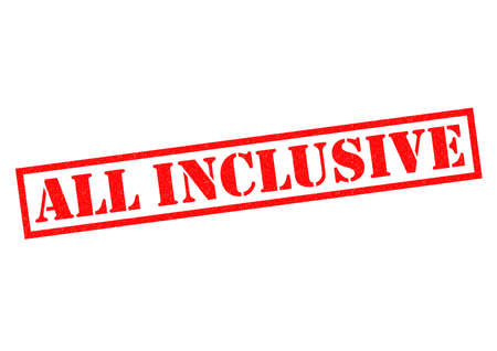 inclusive: ALL INCLUSIVE red Rubber Stamp over a white background. Stock Photo