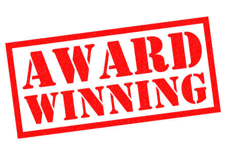award winning: AWARD WINNING red Rubber Stamp over a white background.