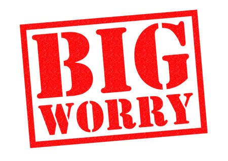 unsure: BIG WORRY red Rubber stamp over a white background. Stock Photo