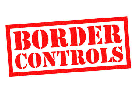 guarded: BORDER CONTROLS red Rubber Stamp over a white background.