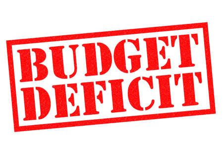 deficit: BUDGET DEFICIT red Rubber Stamp over a white background.