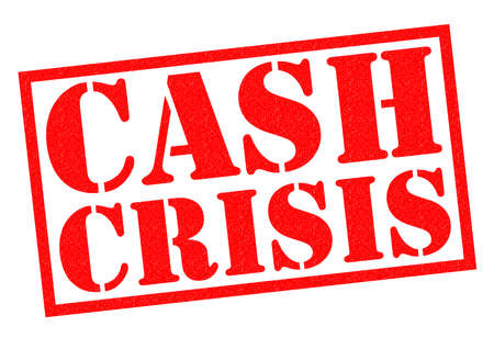 budgetary: CASH CRISIS red Rubber Stamp over a white background. Stock Photo