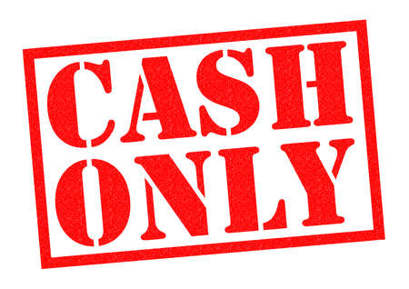 only: CASH ONLY red Rubber Stamp over a white background.