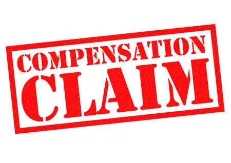 remuneraci�n: COMPENSACI�N sello de goma de color rojo sobre un fondo blanco. Foto de archivo